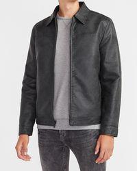 Express Black Faux Leather Reversible Jacket Black Xs