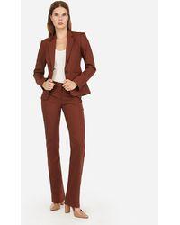 Express - Notch Collar One Button Business Blazer Brown 0 - Lyst