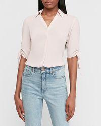 Express Tie Sleeve Button-up Shirt Truffle Pink