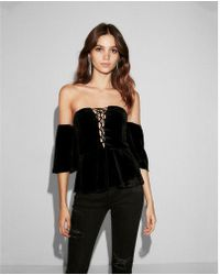 2fea6396b78e98 Express - Off The Shoulder Velvet Lace-up Top - Lyst