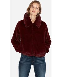 Express Supersoft Faux Fur Jacket Wine - Red
