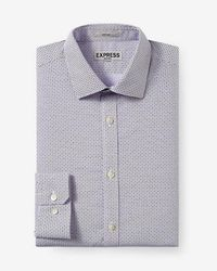 Express - Fitted Micro Geo Print Non-iron Dress Shirt - Lyst