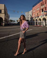 Express Rocky Barnes Linen-blend Tie Front Crop Top Purple