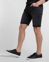 Express Ripped Black Hyper Stretch Jean Shorts