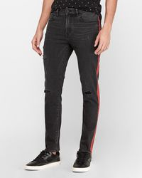 Express Victor Oladipo Slim Black Ripped Striped Hyper Stretch Jeans, Size:w29 L30