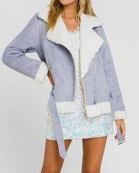 Express Endless Rose Faux Fur Jacket Blue M