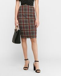 Express High Waisted Textured Plaid Pencil Skirt Print 00 - Multicolor