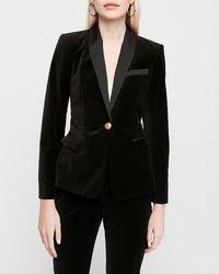 Express X Karla Velvet Tuxedo Business Blazer Black