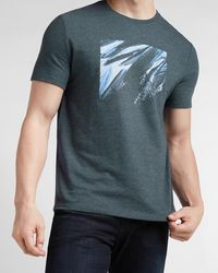 Express Navy Feathers Graphic T-shirt - Blue