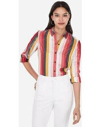 Express Striped Shimmer No Pocket City Shirt By Pink
