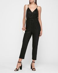 Express Striped Sequin Wrap Front Cami Jumpsuit Black Xs