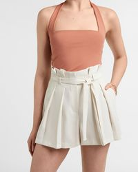 Express Super High Waisted Belted Pleated Paperbag Shorts White 12
