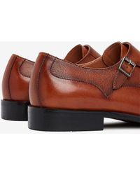 Express Leather Cap Toe Double Monk Strap Dress Shoe Brown 8
