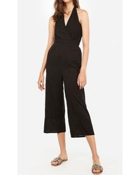 Express Surplice Halter Neck Jumpsuit Black Xs