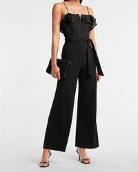 Express Ruffle Lace Bodice Wide Leg Palazzo Jumpsuit Pitch Black