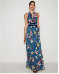 fbb92fd120 Express Tropical Print Strappy Cut-out Plunge Maxi Dress - Lyst