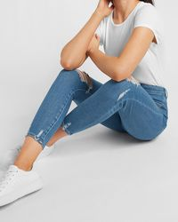 Express Super High Waisted Ripped Cropped Skinny Jeans - Blue