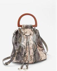 Express Snakeskin Print Bucket Bag Neutral Print - Brown