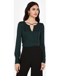 Express Cross Front Large Button-cuff Blouse Green