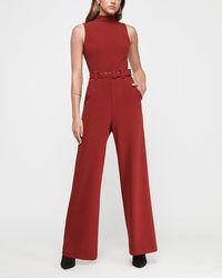 Express Mock Neck Belted Jumpsuit Red