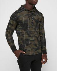 Express - Camo Jersey Hooded Tee Green L Tall - Lyst