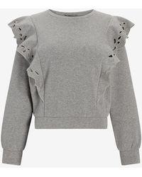 Express Eyelet Lace Ruffle Sleeve Sweatshirt Grey L