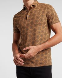 Express Medallion Print Moisture-wicking Performance Polo Brown S - Multicolor