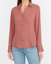 Express Fitted Button-up Portofino Shirt Pink Xxs