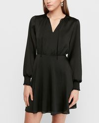Express Textured Satin Tie Neck Fit And Flare Dress Black