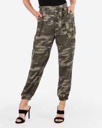 Express High Waisted Paperbag Cargo Twill Utility Joggers Green Print