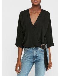 Express Satin Wrap Front Side Buckle Top Black Xs
