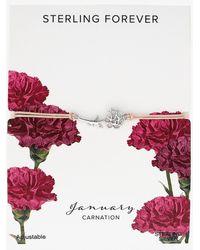 Express Sterling Forever January 'carnation' Birth Flower Bracelet Silver - Metallic