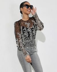 Express Embroidered Lace Puff Sleeve Top Pitch Black