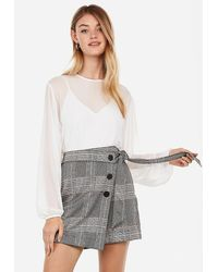 Express High Waisted Plaid Paperbag Button Front Skort Neutral Plaid - Gray