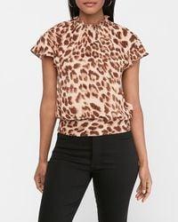 Express Leopard Print Ruffle Mock Neck Blouse Brown Xxs