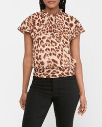 Express Leopard Print Ruffle Mock Neck Blouse - Brown