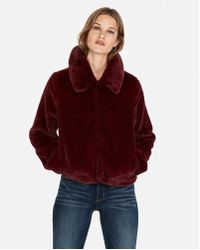 Express Supersoft Faux Fur Jacket - Red