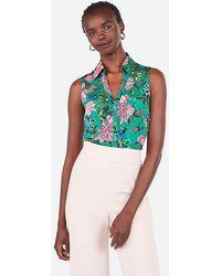 Express Slim Sleeveless Floral Satin Portofino Shirt Green Print