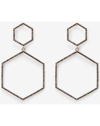 Express Double Hexagon Drop Earrings - Metallic
