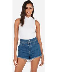 Express Super High Waisted Original Belted Denim Shorts Blue