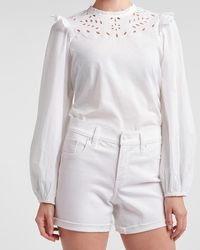 Express Embroidered Ruffle Balloon Sleeve Top White L