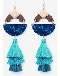 Express Geo Wood Resin Tassel Drop Earrings - Blue