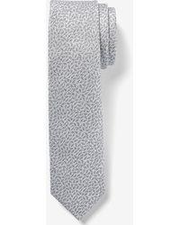 Express Silver Mini Cactus Print Tie - Gray
