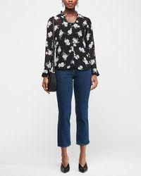 Express Slim Floral Ruffle Collar Sheer Portofino Shirt Black Print Xxs