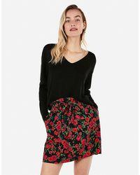 Express High Waisted Floral Paperbag Mini Skirt Black Print