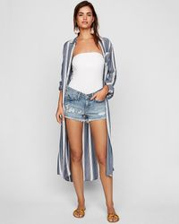 Express - Low Rise Floral Embroidered Stretch+ Denim Shorts Blue - Lyst