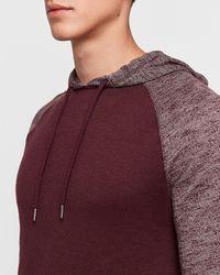 Express Hooded Marled Loose Knit Raglan T-shirt Red Xs
