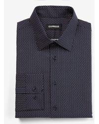 Express Slim Dot Print Stretch Cotton 1mx Dress Shirt - Blue