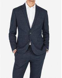 Express Extra Slim Plaid Navy Wrinkle-resistant Stretch Suit Jacket - Blue