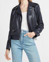 Express Faux Leather Belted Moto Jacket Blue Xxs